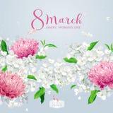 Les chrysanthèmes et l'Apple fleurissent pour la voiture de salutation de vecteur du 8 mars Illustration Stock