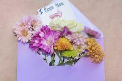 Les chrysanthèmes fleurit dans l'enveloppe pourpre avec je t'aime la carte Photos libres de droits