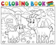 Les chèvres heureuses de livre de coloriage s'approchent de la ferme Image libre de droits