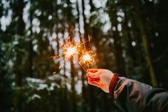 Les cierges magiques remettent des hommes Fond de forêt de Milou photos stock