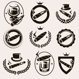 Les cigares marquent et des icônes réglées Vecteur illustration de vecteur