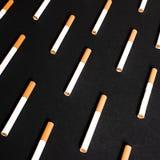 Les cigarettes blanches avec le filtre orange ont rayé dans une rangée dans l'ordre photographie stock libre de droits
