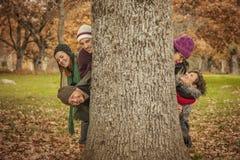 Les cinq jeunes derrière un grand arbre Images stock
