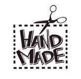 Les ciseaux fabriqués à la main d'étiquette de vecteur de label piquent pour le salon d'atelier de couturière de boutique de tail illustration de vecteur