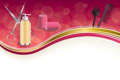 Les ciseaux rouges de bigoudi de coiffure de fond d'outils roses abstraits de coiffeur balayent l'illustration de cadre de ruban  Photo stock