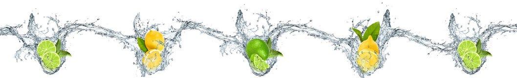 Les citrons et les oranges se sont laissés tomber dans l'eau Photographie stock