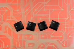 Les clés de clavier ont présenté l'amour de mot Image stock