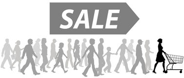 Les clientes d'amorce de caddie défilent pour acheter la vente illustration libre de droits