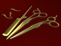 les clips colden des ciseaux de peigne Photographie stock libre de droits