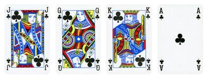 Les clubs adaptent à des cartes de jeu, ensemble incluent le roi, la reine, le Jack et l'Ace illustration libre de droits