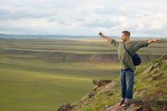 Les coûts d'homme au dessus de montagne Photographie stock libre de droits
