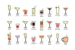 Les cocktails alcooliques populaires avec la partie, icônes de titres ont placé dans le style plat sur le fond blanc Image stock