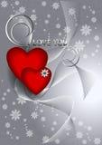 Les coeurs avec des rubans sur le fond clair répandu fleurit Images libres de droits