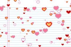 Les coeurs colorés d'aspiration de Saint Valentin forment sur l'école de livre blanc avec des rangées fond, amour de fête de Sain Images stock