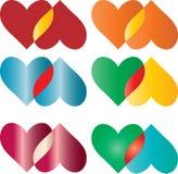 les coeurs colorés ont placé Image libre de droits
