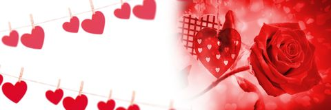 Les coeurs d'amour de valentines et ont monté Photographie stock libre de droits