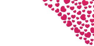les coeurs 3D roses pourpres donne la forme sur un fond blanc dans le coin Image stock