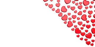 les coeurs 3D rouges donne la forme sur un fond blanc dans le coin Image libre de droits