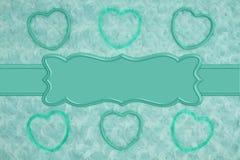 Les coeurs de cadre de Teal sur la sarcelle d'hiver pâle ont monté tissu de peluche avec le fond de ruban photographie stock