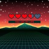 Les coeurs de jour de valentines carte orientée de jeu d'amour de la rétro avec 80s ont dénommé la barre de statut au néon de cha illustration de vecteur