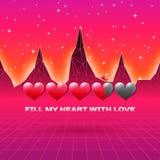 Les coeurs de jour de valentines carte orientée de jeu d'amour de la rétro avec 80s ont dénommé la barre de statut au néon de cha illustration stock