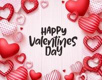 Les coeurs de jour de valentines dirigent le fond Conception heureuse de bannière de carte de voeux de jour de valentines illustration de vecteur