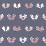 Les coeurs de Paisley de vecteur conçoivent dans les beiges sur le fond sans couture bleu de modèle illustration de vecteur