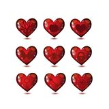 Les coeurs en verre aiment l'ensemble d'icônes illustration stock