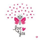 Les coeurs mignons de papillon de carte de jour de valentines dentellent le blanc Photographie stock libre de droits