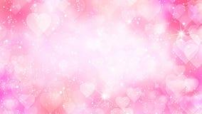 Les coeurs roses apparaissent sur le fond brillant Animation de boucle d'abrégé sur vacances de jour de valentines illustration stock