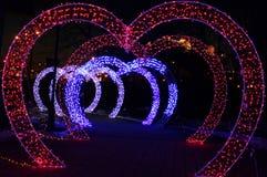 Les coeurs rougeoyants magiques composent un tunnel images stock