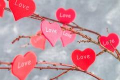 Les coeurs rouges avec un amour d'inscription accrochent sur des branches sur un fond concret gris Arbre d'amour Le concept de la Image stock