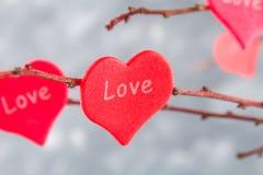 Les coeurs rouges avec un amour d'inscription accrochent sur des branches sur un fond concret gris Arbre d'amour Le concept de la Photo libre de droits