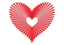 Les coeurs rouges modèlent former la forme d'un grand coeur dans la perspective concentrique de modèle d'alignement comme tunnel  illustration de vecteur