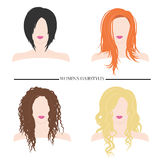 Les coiffures des femmes Types de coiffures femelles Illustration de vecteur Image libre de droits