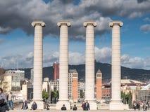 Les colonnes de Montjuich à Barcelone Images libres de droits
