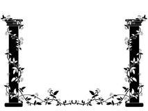 Les colonnes noires et blanches se sont enlacées avec des roses des côtés de la photo Photo stock