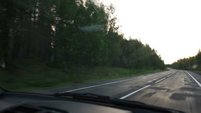 Les commandes de voiture le long du chemin forestier banque de vidéos