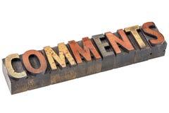Les commentaires expriment dans le type en bois d'impression typographique photos libres de droits