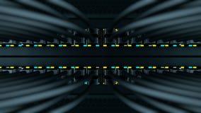Les commutateurs avec les correction-cordes d'UTP dans un serveur étirent banque de vidéos