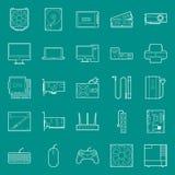 Les composants de l'ordinateur et les périphériques amincissent des lignes icônes réglées Images stock