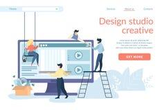 Les concepteurs cr?ant l'interface de site, Ui, Ux se d?veloppent illustration de vecteur