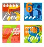 Les conceptions colorées de nombre ont placé 2 Image libre de droits