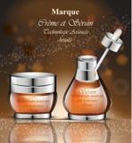 Les conceptions d'emballage réalistes de produit de vecteur de cosmétiques raillent vers le haut de l'illustration Photo libre de droits