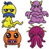 Les conceptions de personnages mignonnes de monstre ont placé l'illustration colorée de calibre de vecteur de bande dessinée illustration stock