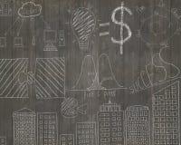 Les concepts d'affaires gribouille sur le mur en bois de brun foncé Image stock