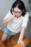 Les concepts de la femme asiatique soient malades Photo stock