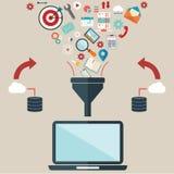 Les concepts plats d'illustration de conception pour le processus créatif, de grandes données filtrent, des données percent un tu Image libre de droits
