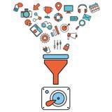 Les concepts plats d'illustration de conception pour le processus créatif, de grandes données filtrent, des données percent un tu Photographie stock libre de droits