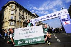 Les concurrents donnent un appui à Boston Images libres de droits